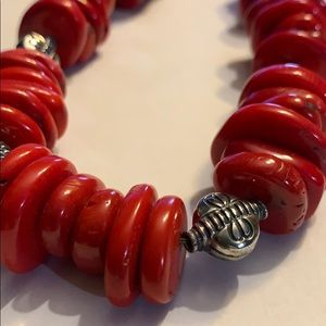 Beautiful bright red chunky coral Barse necklace